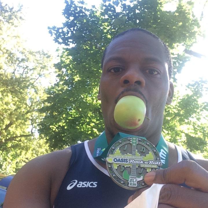 Post race apple in my mouth selfie