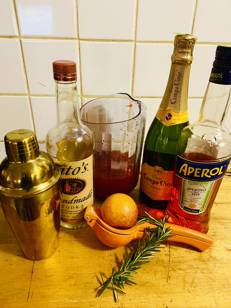 cocktail, blood orange rosemary fizz, vodka cocktail
