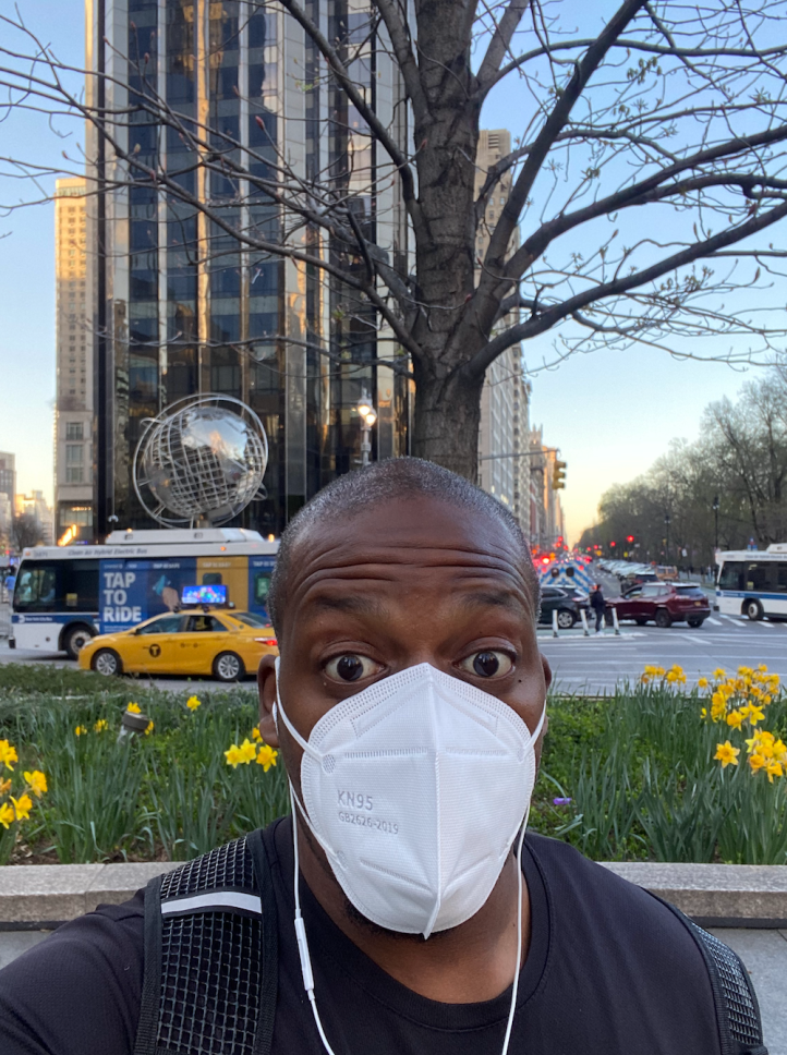 Kwame Osei-Sarfo, Ph.D. waiting for his running group in Columbus Circle (NYC)