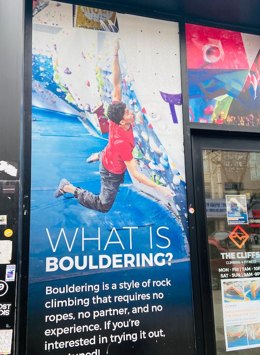 Bouldering, The Cliffs at Harlem