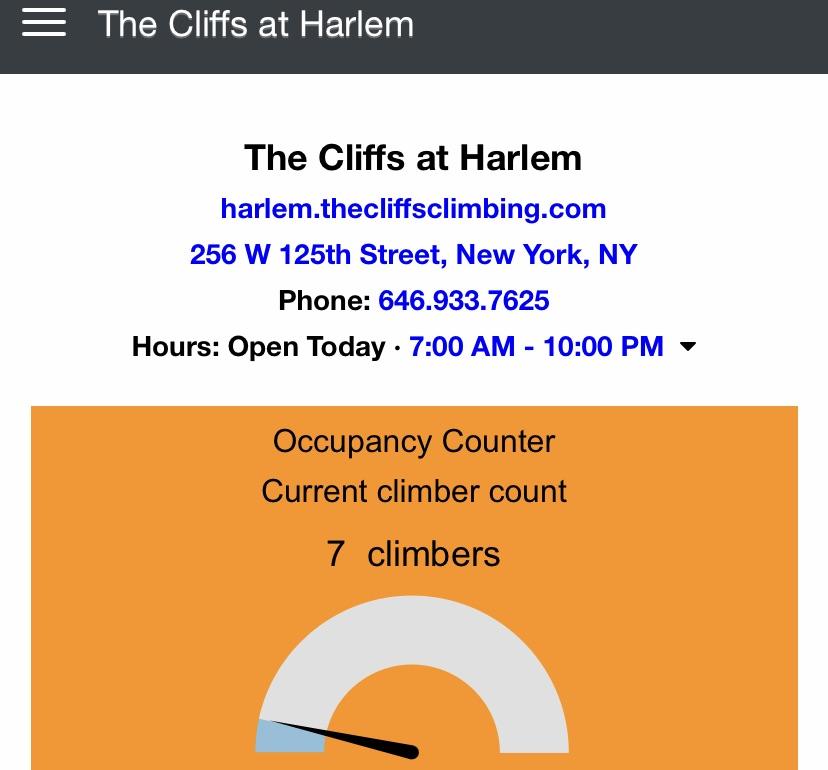The number of folks at the Cliffs at Harlem bouldering gym.