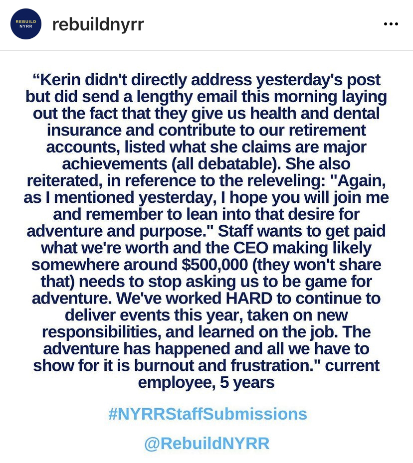 IG post from Rebuild NYRR (#rebuildnyrr).